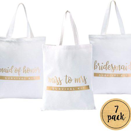 Bride and Bridesmaid Tote Bags - 7 Pack