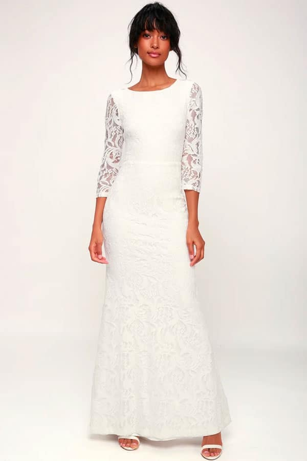 Adley White Lace Three-Quarter Backless Maxi Dress