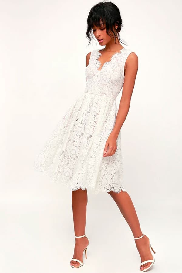 Lulus Love Swept White Lace Midi Skater Dress