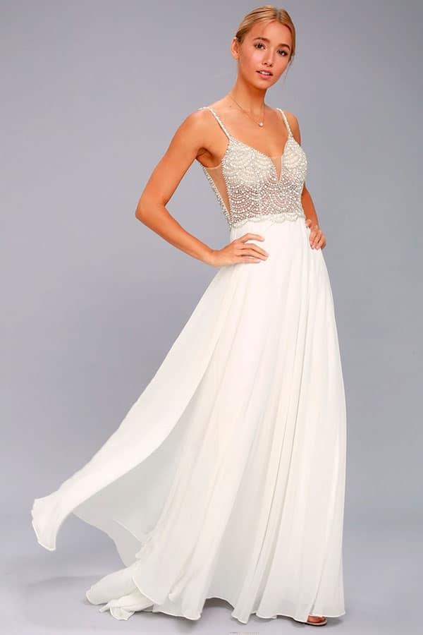 Lulus True Love White Beaded Rhinestone Maxi Dress