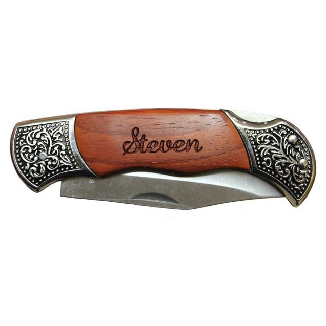 personalized engraved wood knife
