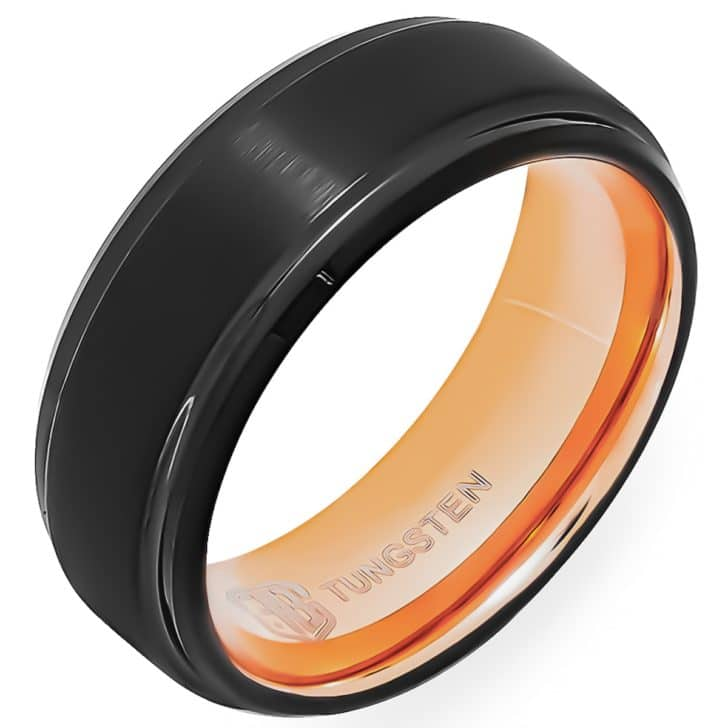 The Fuel  Gold and Black Band Foxtrot Bands Mens Wedding Rings