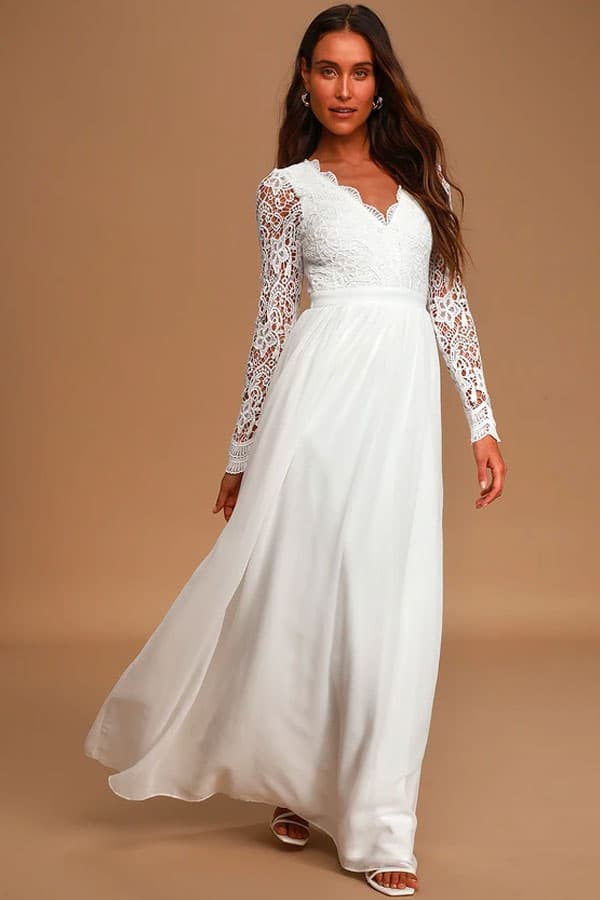 Lulus Awaken My Love White Long Sleeve Lace Maxi Dress