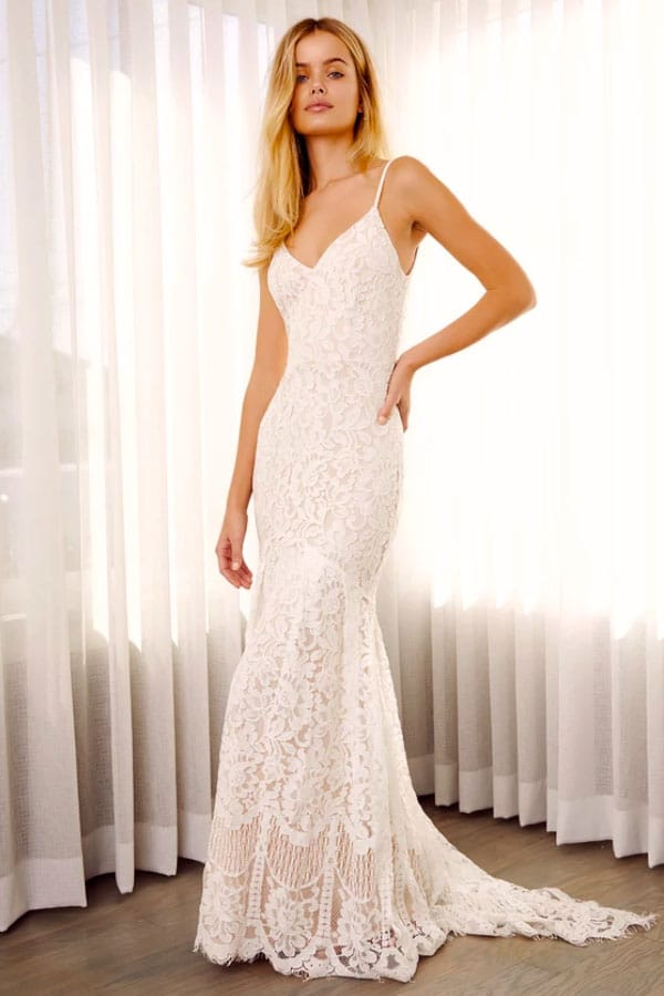 Lulus Flynn White Lace Maxi Dress