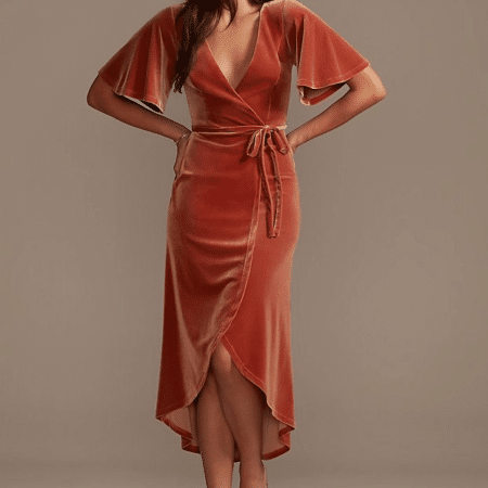 Velvet Flutter Sleeve Midi Dress with Tie Waist