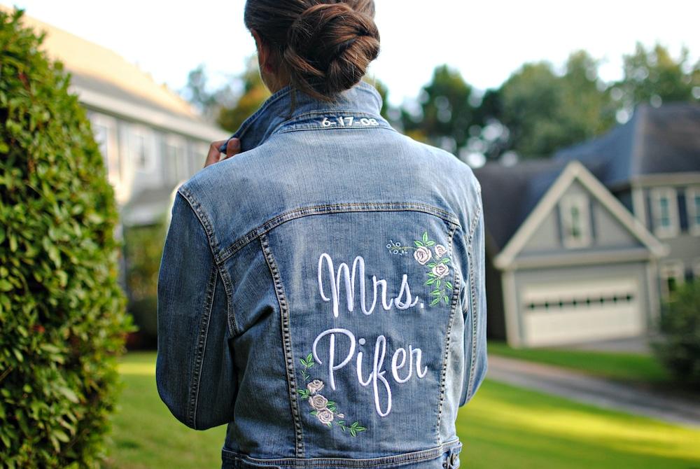DIY Personalized Embroidered Bridal Denim Jacket