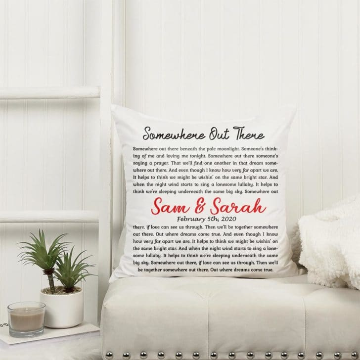 Custom name and song lyrics pillow - personalized wedding gifts couples will love