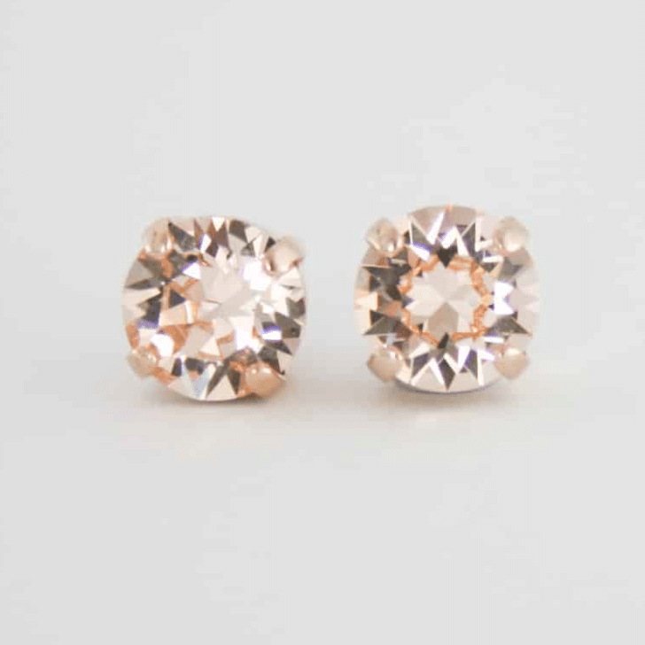 rose gold crystal stud earring