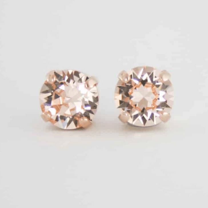 rose gold crystal stud earring