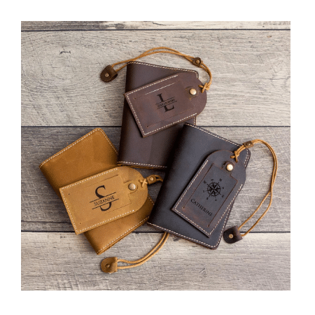 Wedding Gifts for spouse on your big day-Engraved Leather Passport Holder & Luggage Tag Set