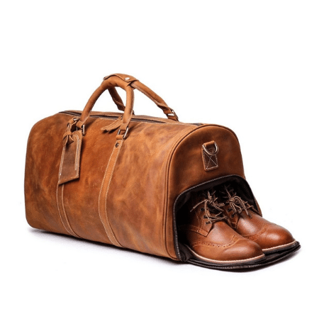 Wedding Gifts for spouse on your big day-Handmade Leather Duffle Bag with Shoe Compartment