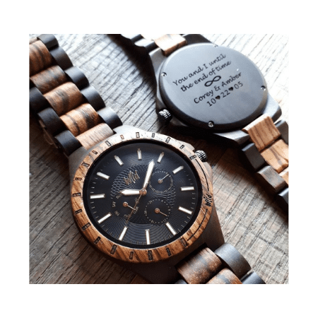 Wedding Gifts for spouse on your big day- Personalized Men's Wooden Watch