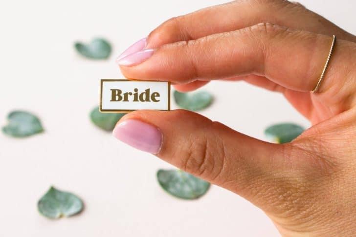 everday olive bride enamel pin