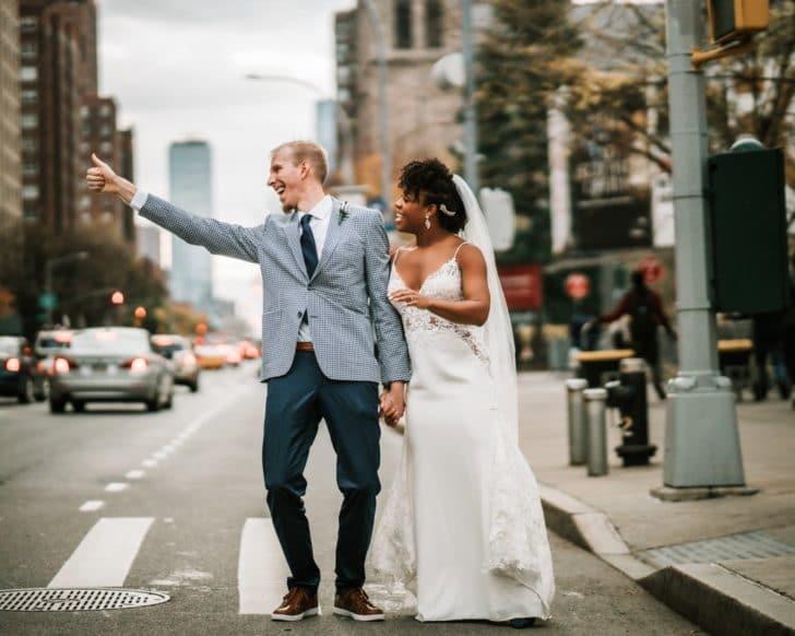 bride and groom - ny wedding - new york wedding - nyc streets - nyc bride and groom