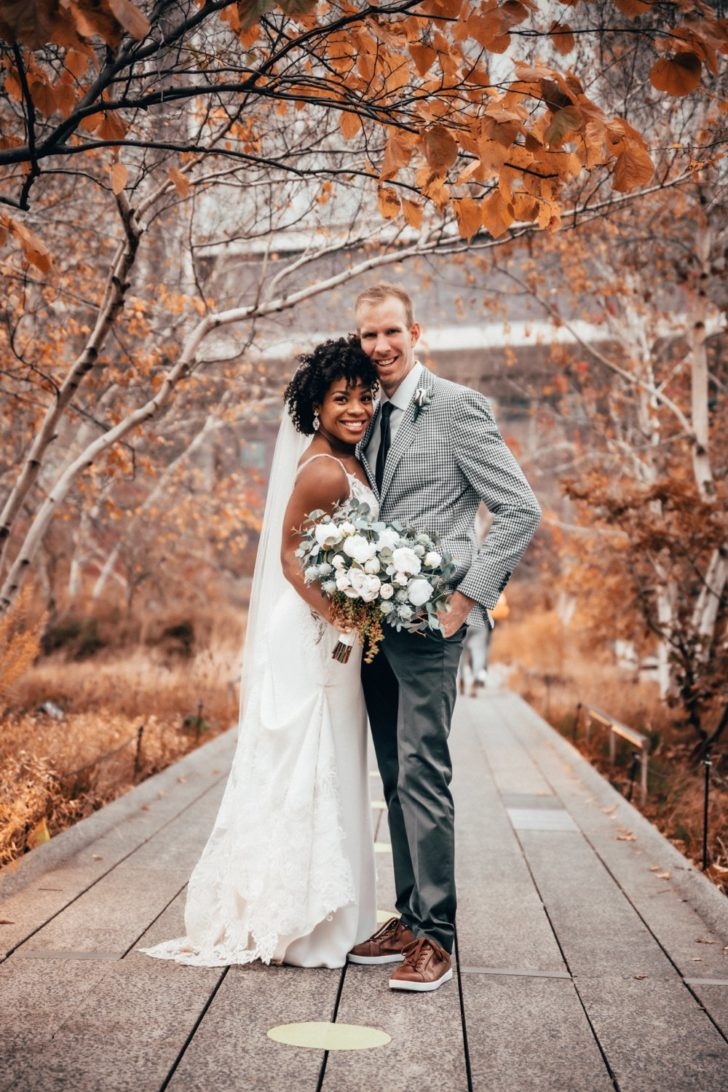 Zoom wedding - corona bride - nyc highline - bride and groom