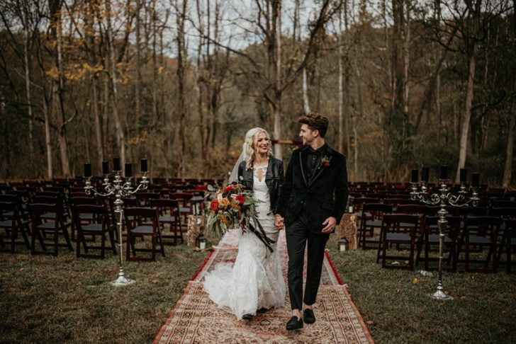Halloween themed wedding - bride and groom