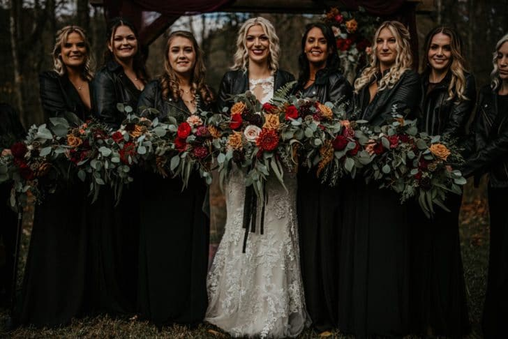 bride and bridesmaids in leather jackets - fall wedding - fall bridal bouquets