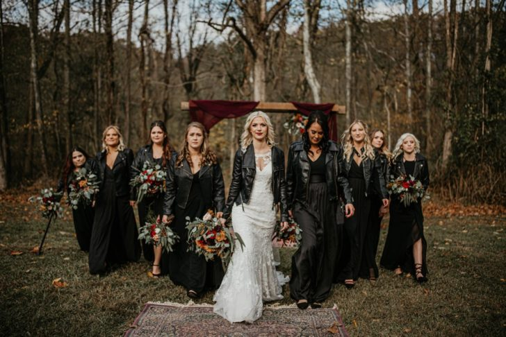 bride and bridesmaids in leather jackets - fall wedding