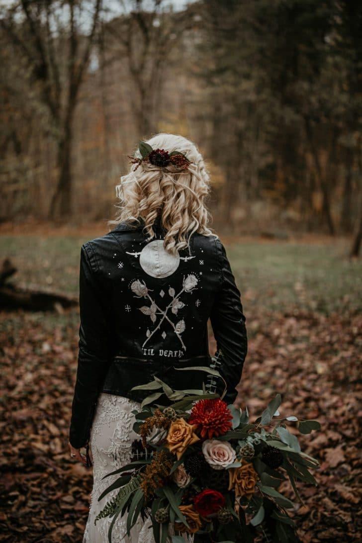 bride in custom leather jacket