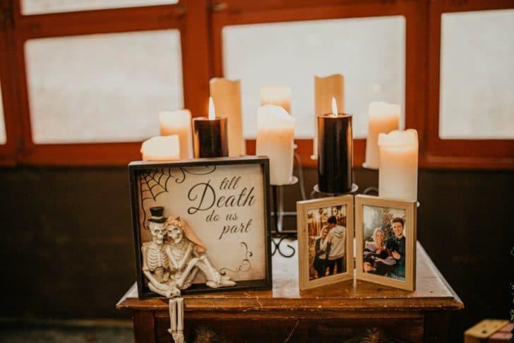 wedding decor - til death do us part - themed wedding decor - halloween wedding