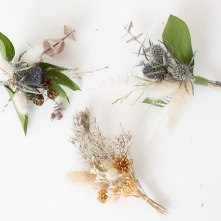 dried floral wedding boutonniere