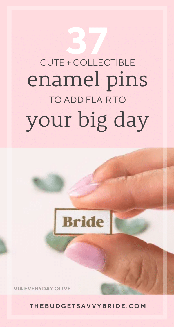 Enamel wedding pins are the perfect favor or thank you gift for the people making your big day special. Or grab one for yourself to celebrate your new marriage.