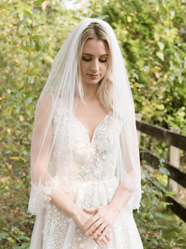 lace edged veil from alexbridal on etsy