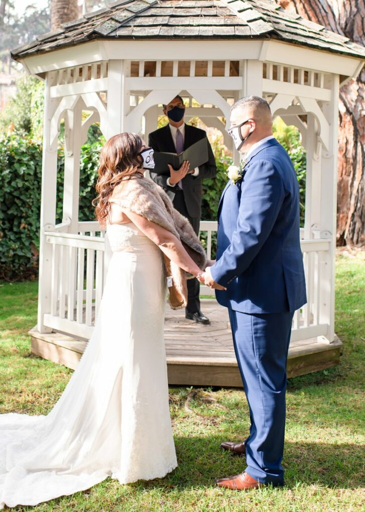 bride and groom - chapel elopement -covid wedding - mr and mrs. masks