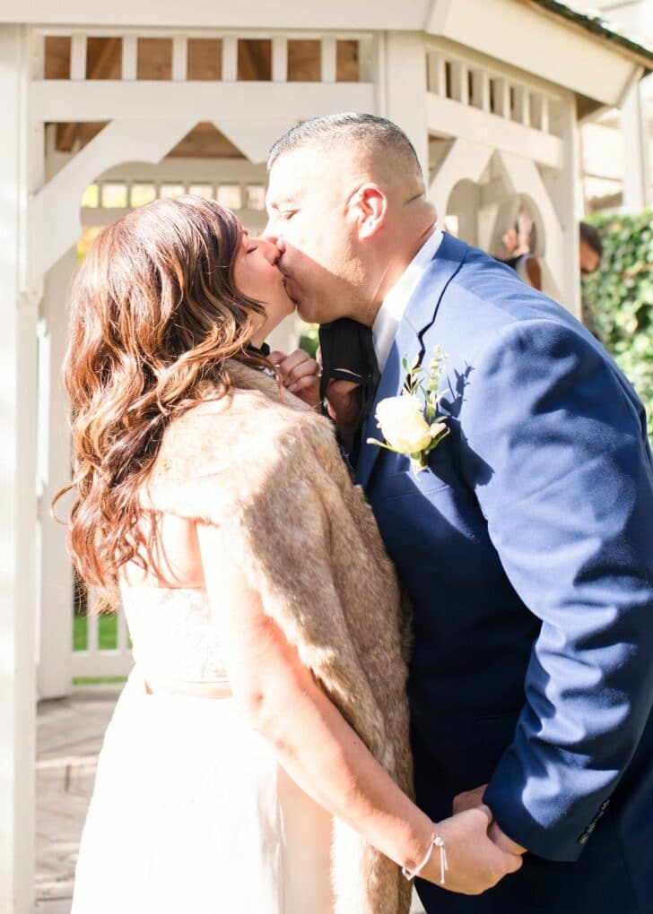 bride and groom - first kiss - chapel elopement