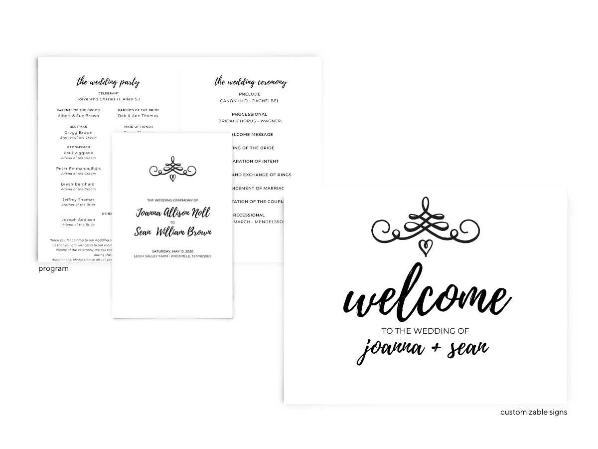 Jennifer Suite - Free Wedding Invitation Printables from The Budget Savvy Bride