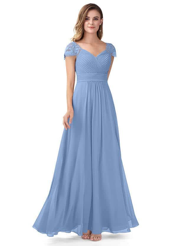 Bridesmaids looks inspired by Daphne Bridgerton  Azazie Adelyn Bridesmaid Dress in Steel Blue