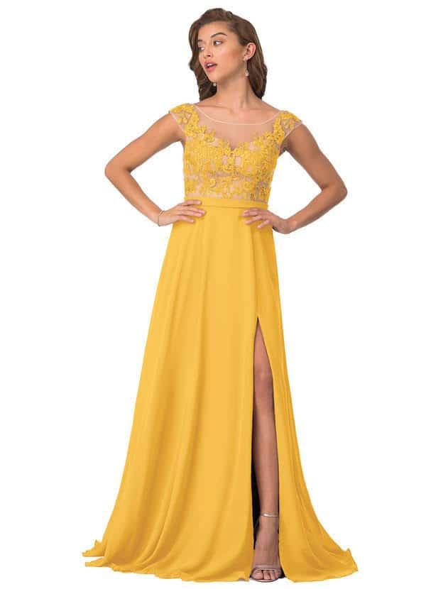 Bridgerton Wedding Inspiration  Azazie Maeve Bridesmaid Dress in Marigold