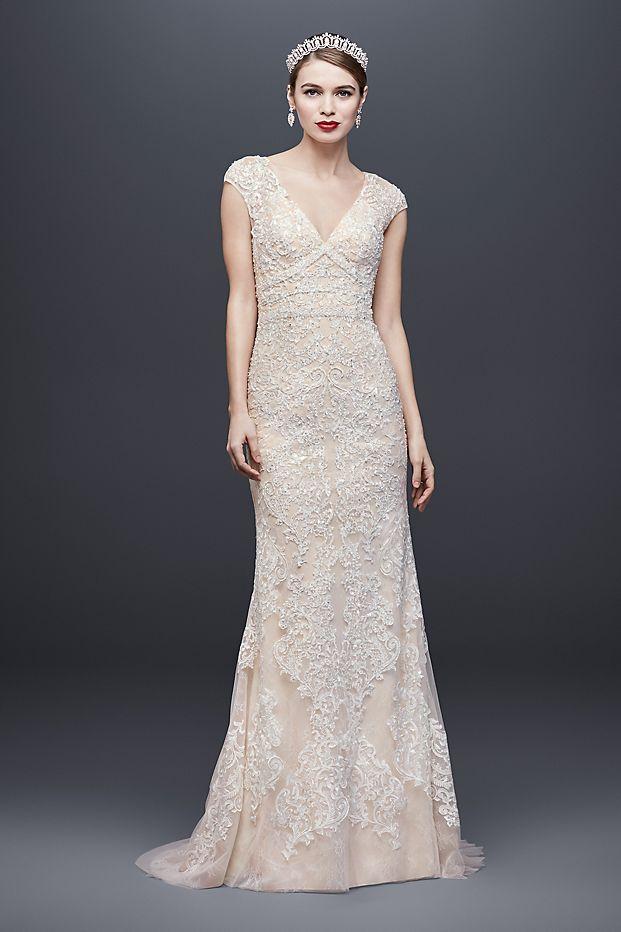 David's Bridal - Cap Sleeve Plunging V-Neck Sheath Wedding Dress