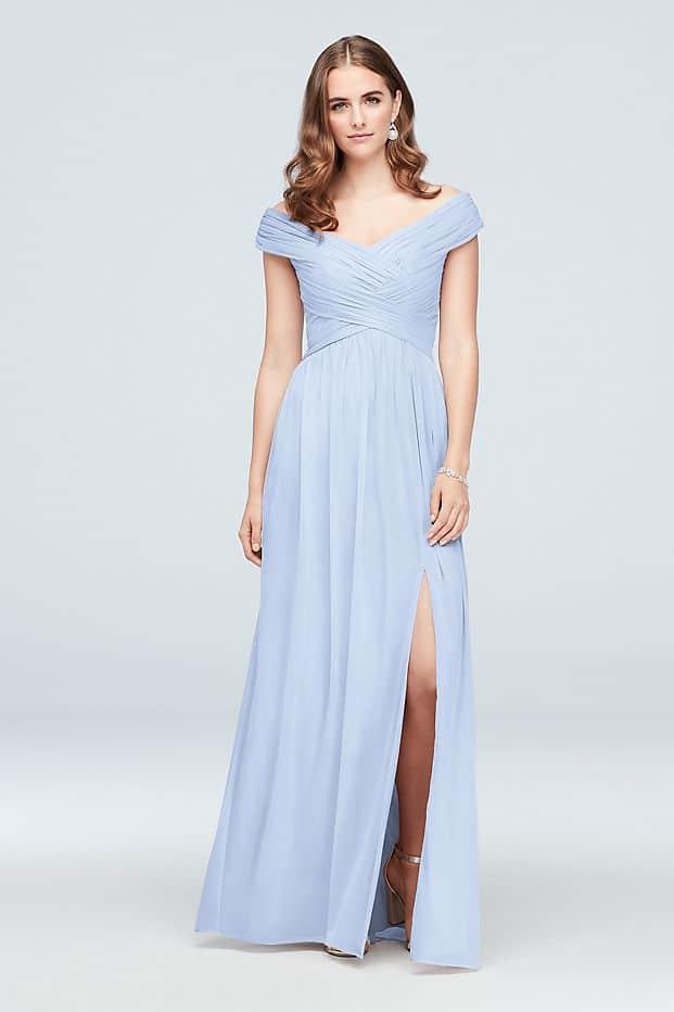 Bridesmaids looks inspired by Daphne Bridgerton  Crisscross Off-the-Shoulder Mesh Bridesmaid Dress from David's Bridal