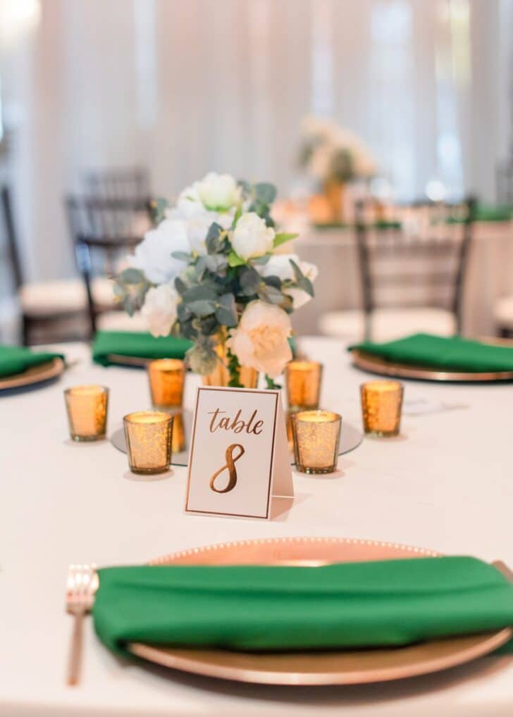 table setting  - green and gold wedding decor