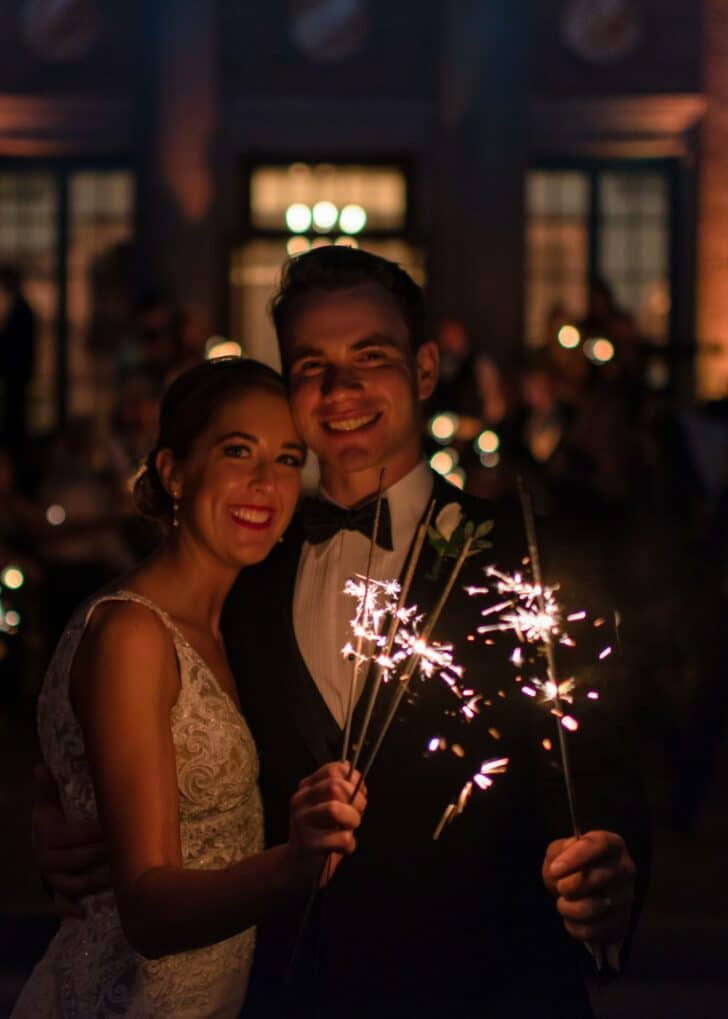 bride and groom - sparklers - wedding exit
