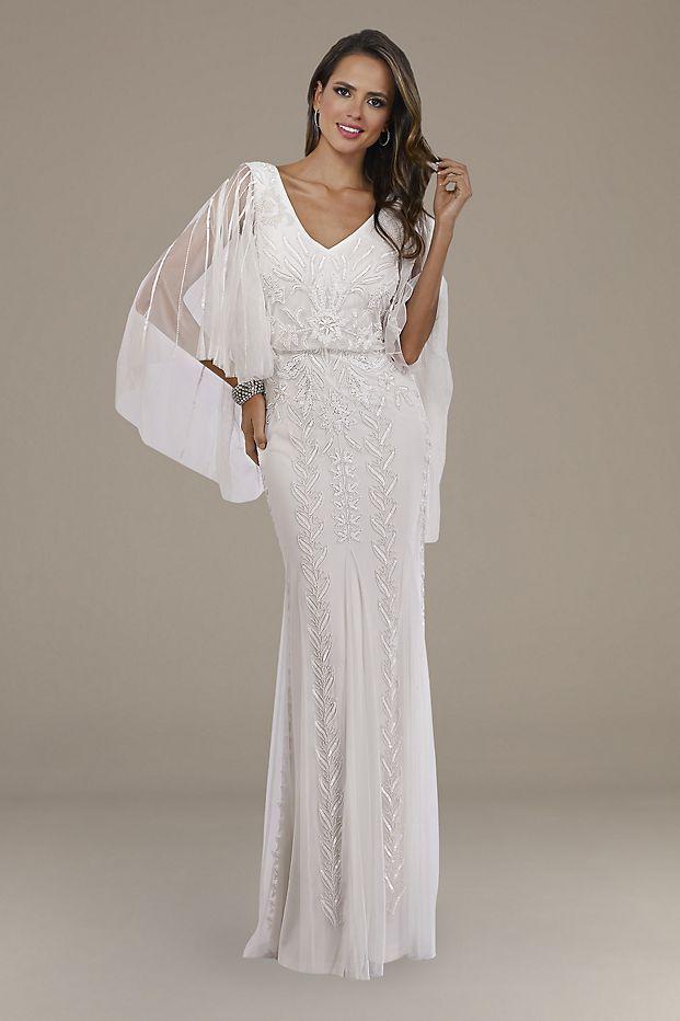 Bridgerton Inspired Wedding Looks  Lara Ella Beaded Cape Sleeve Wedding Dress from David's Bridal