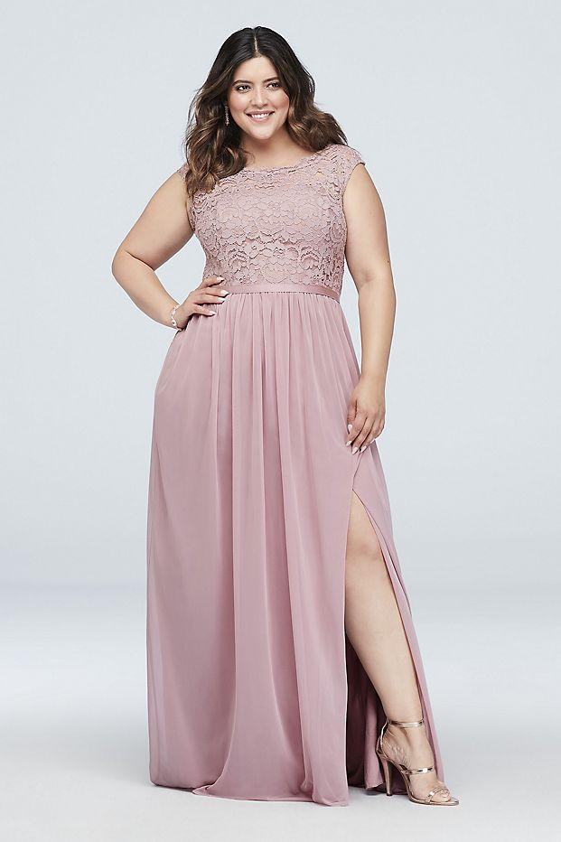 Bridgerton Inspired Wedding Fashion    David's Bridal - Long Bridesmaid Dress with Lace Bodice