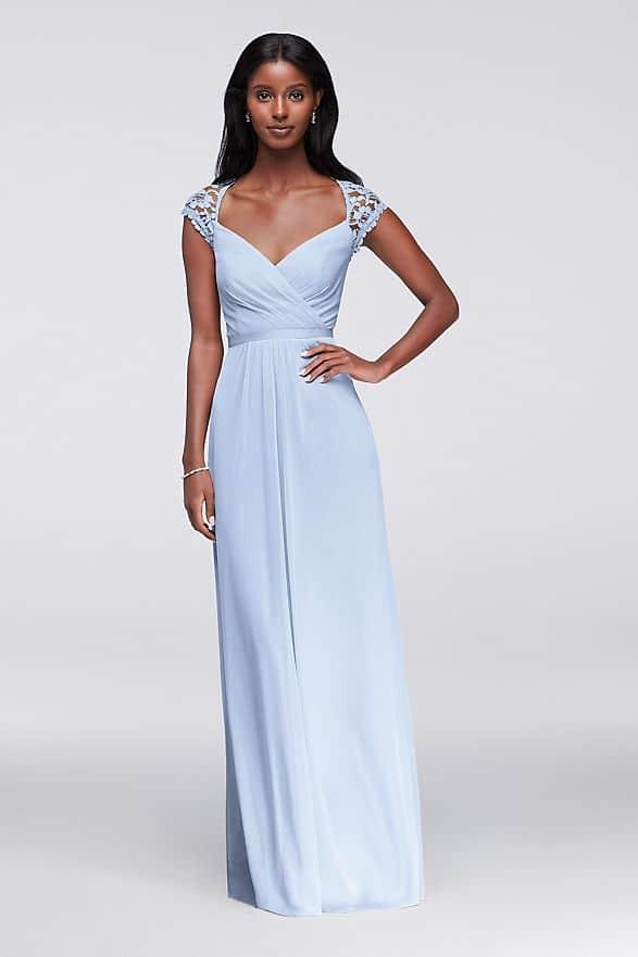 Bridesmaids looks inspired by Daphne Bridgerton  Mesh Dress Lace Cap Sleeves from David's Bridal