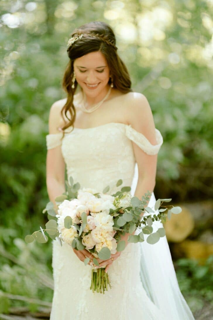 bouquet - bridal gown - white and green