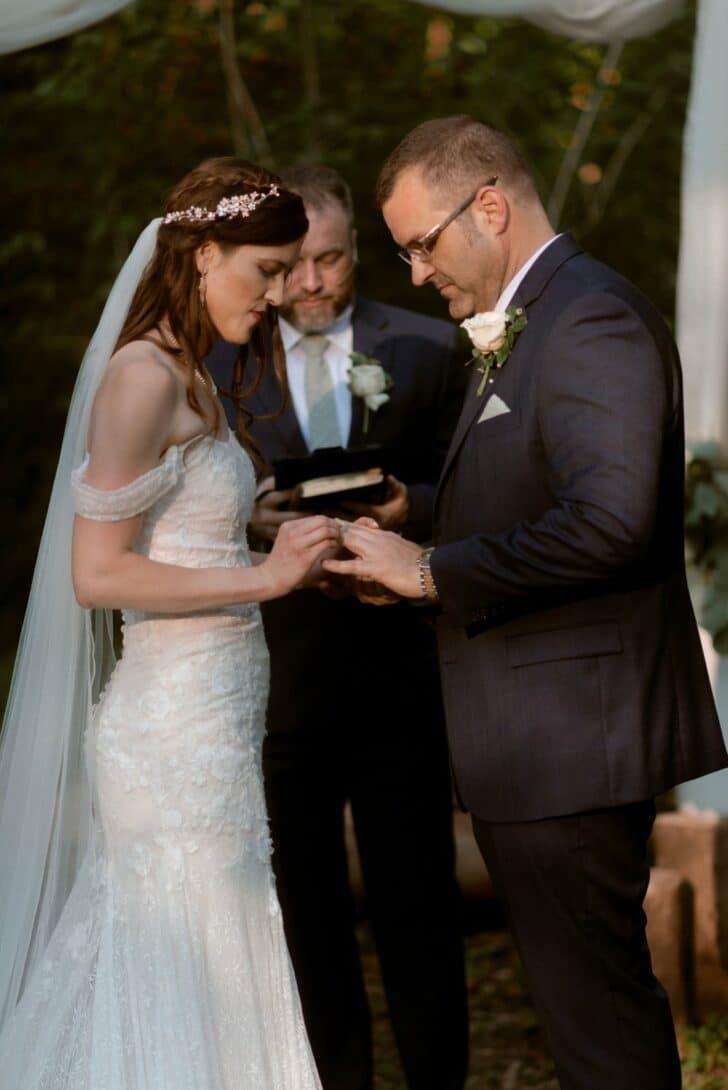 bride and groom - romantic fairytale wedding - outdoor wedding - wedding in the woods - I do