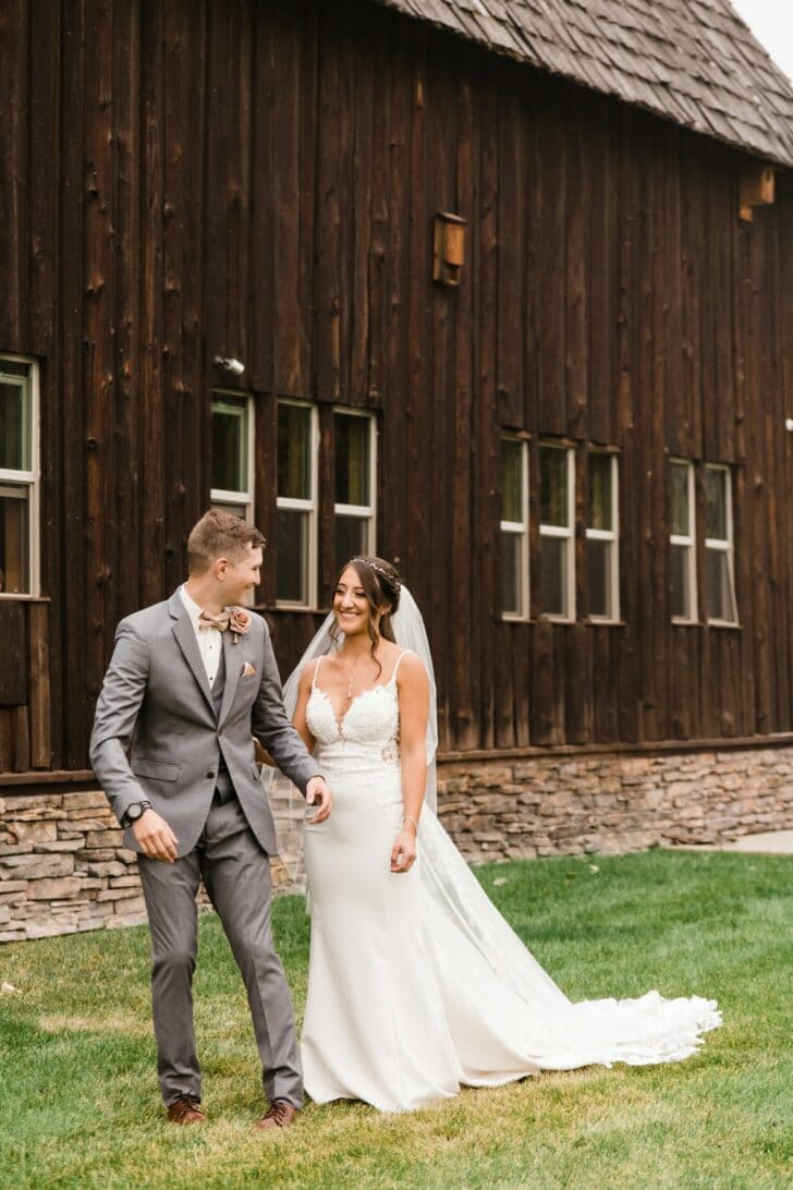 bride and groom  - first look - barn wedding