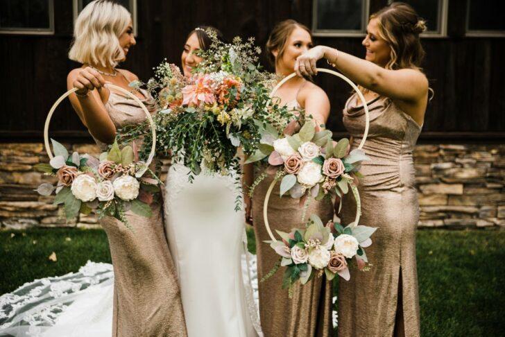 wedding hoops - floral hoops - bouquet hoops - faux flowers