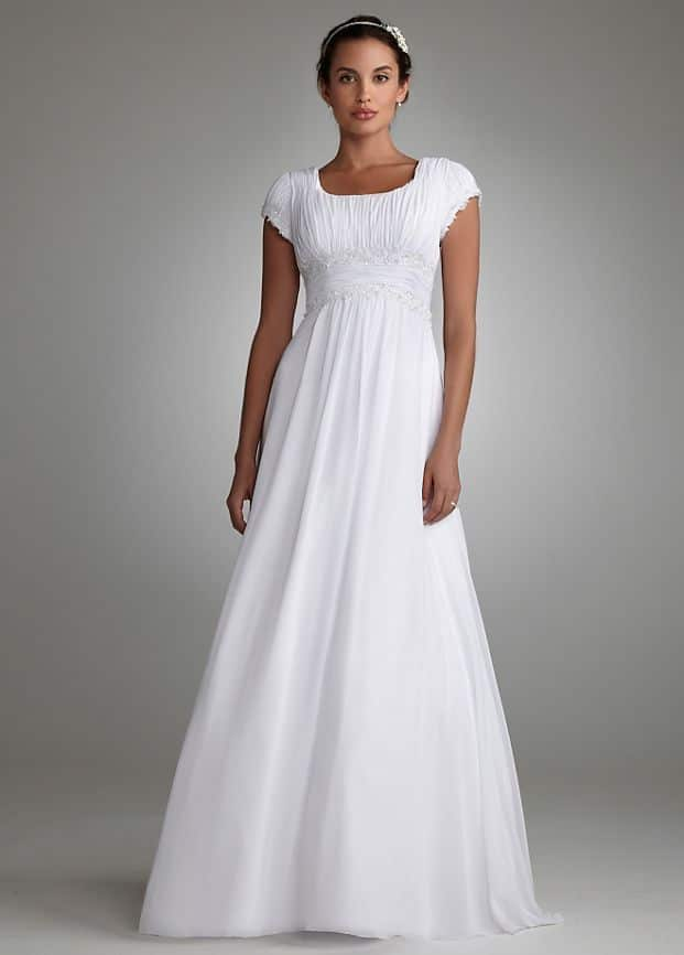 Bridgerton Wedding Fashion Inspiration   Short Sleeved Empire Waist Chiffon Wedding Dress