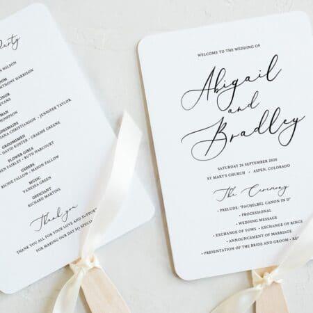 Wedding Program Fan Printable