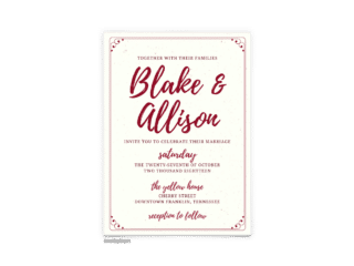 Mallory Wedding Invitation - Free Printable Wedding Invitations - Edit with Canva!