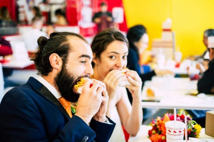 san francisco city hall elopement - bride and groom - In'n'out burger