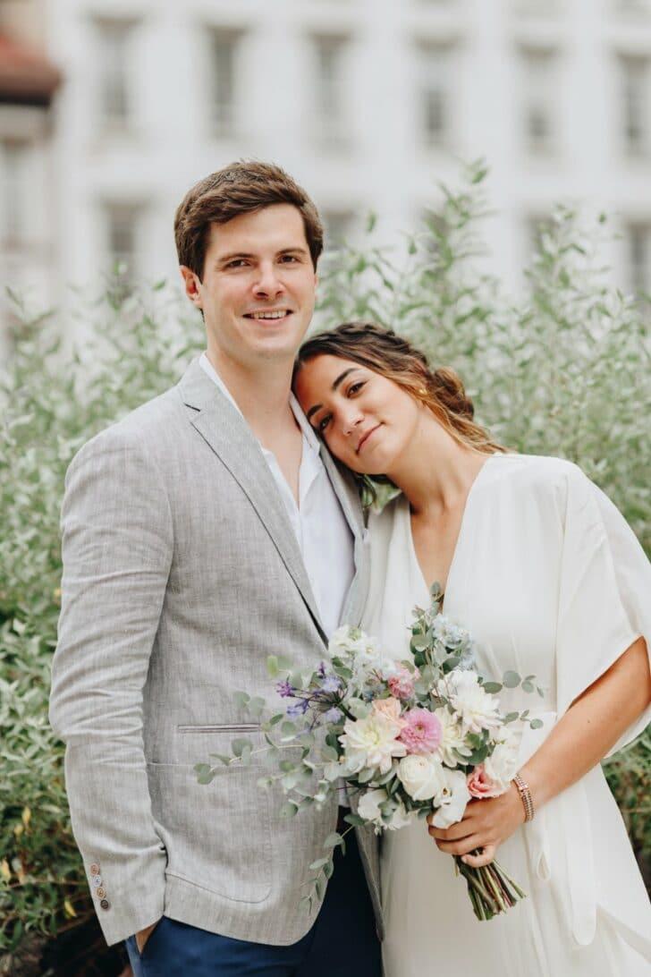 NYC rooftop elopement - bride and groom