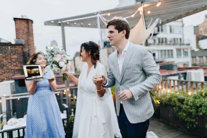 NYC rooftop elopement - livestreamed wedding