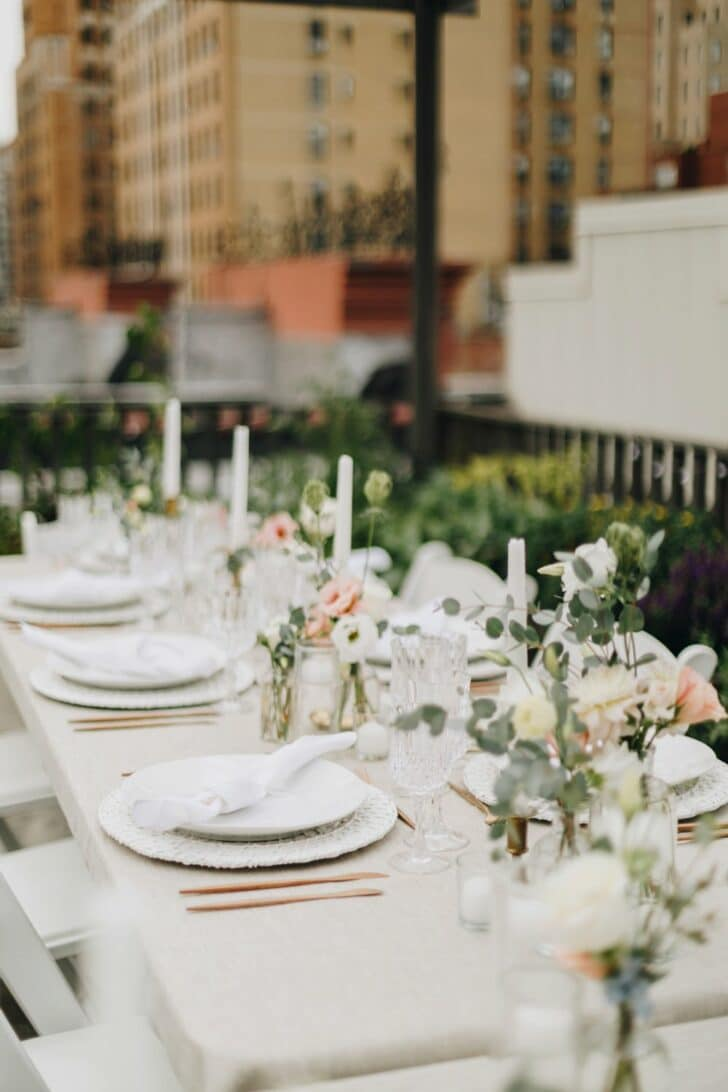 NYC rooftop elopement - tablescape decor